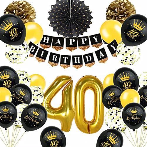 40. Geburtstag Deko Schwarz Gold, TOPLDSM Luftballons 40 Geburtstag, Geburtstagsdeko 40 Jahre Party Deko mit Happy Birthday Girlande,Pompoms, Folienballon Zahl 40,Konfetti Ballon für Frauen Männer