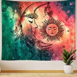 Nidoul Psychedelic Wall Tapestry|Starry Sun Moon Face Tapestry Wall Hanging|Hippie Spiritual Tapestry|Wall Art Decoration for Bedroom Living Room Dorm