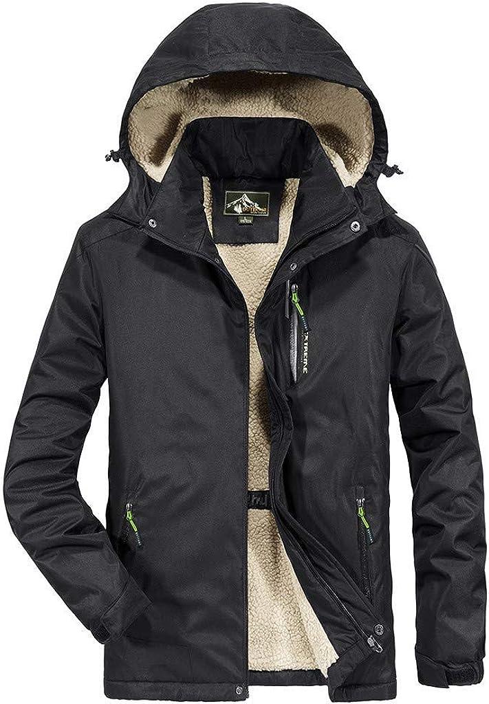 Berrykey Casual Men's Warm Winter Snow Coat Mountain Windbreaker Hooded Raincoat Zipper Fleece Outdoor Jacket Outerwear