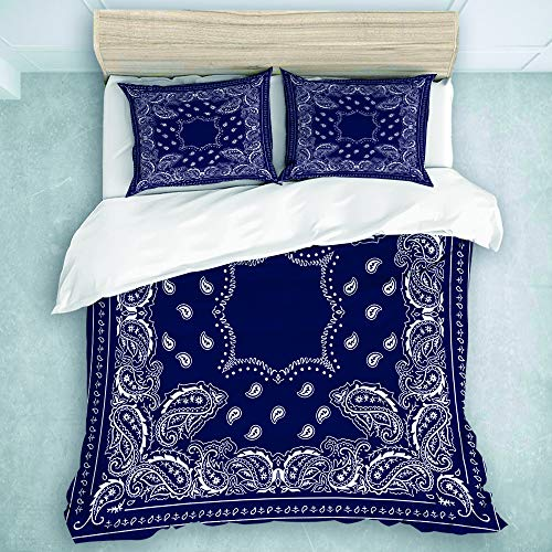 MOASTORY 3 Piece Duvet Cover Set, Bandana in Blue, Super Soft All Seasons Blanket, Queen Size