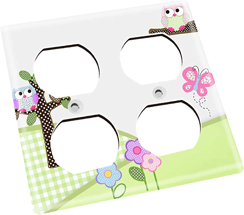 Pink And Purple Owls Girls Bedroom Single Light Switch Cover LS0044 Double Outlet