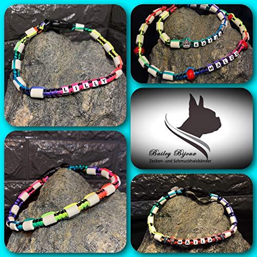 Bailey- Bijoux Anti Zecken- und Schmuckhalsband * EM- Keramik Halsband* für Hunde und Katzen * (Regenbogen/Rainbow) * INDIVIDUALISIERBAR (41-50 cm)
