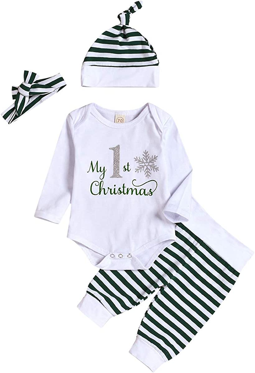 Toddler Baby Christmas Outfit Newborn Baby Girl Boy's Sets Infant Long Sleeve Romper Pants 4Pcs Set
