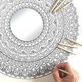 Espejo Mandala Gigante de Pared con Madera para Colorear Adultos y Niños de PAINT&RELAX | Espejo Redondo Ø48cms | Ideales para Decoración del Hogar | Regalo Original | Modelo Agua.