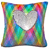 Basume Sequin Pillow with Insert, 16x16 in Magic Reversible Sequins...
