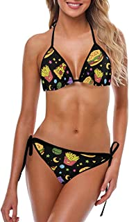 INTERESTPRINT Women's Bikini Swimsuit Halter Strap Tie Back Swimwear 2 Pieces Sets Foods Flying in Open Space