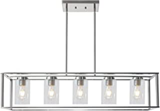 VINLUZ Contemporary Chandeliers Brushed Nickel 5 Light Modern Dining Room Lighting Fixtures Hanging, Kitchen Island Cage Pendant Lights Farmhouse Flush Mount Ceiling Light with Glass Shade