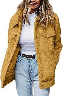 Macondoo Women's Sherpa Single Breasted Outwear Fleece Pea Coat Jacket