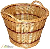 Wilpo Cesta para chimenea 51x51x42 Cesta para leña Cesta de cosecha Cesta para heno Sauce Cesta para patatas