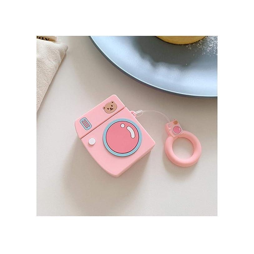 機動目を覚ますクリークBIDLS 2、ベアカメラ+同じリングに適したスタイリッシュなヘッドホンケース、Airpodsケース、ワイヤレスイヤホンセット、Bluetoothのペンダントシリコンソフトケース、 (Color : Pink)
