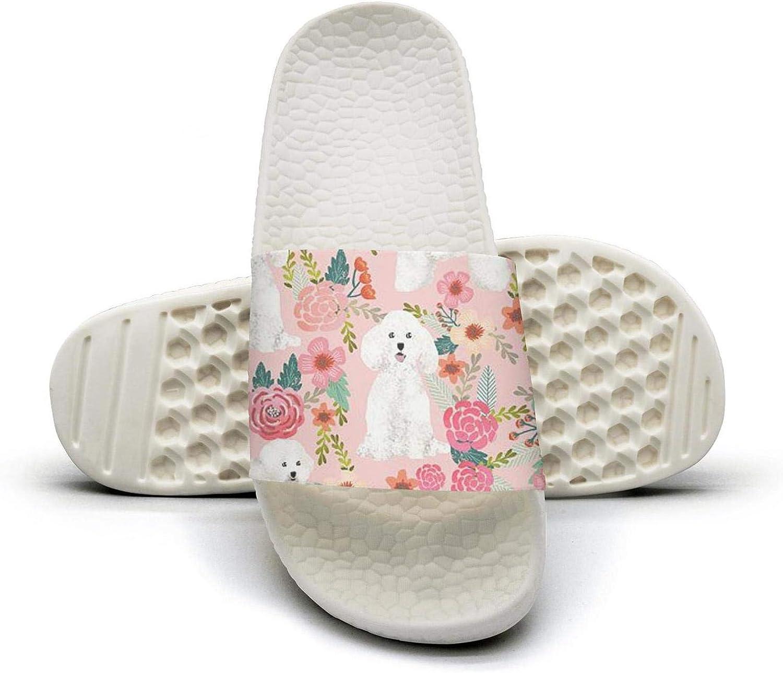 Women's Slides Shoes Bichon Frise Dog Pink Florals Vintage Slipp