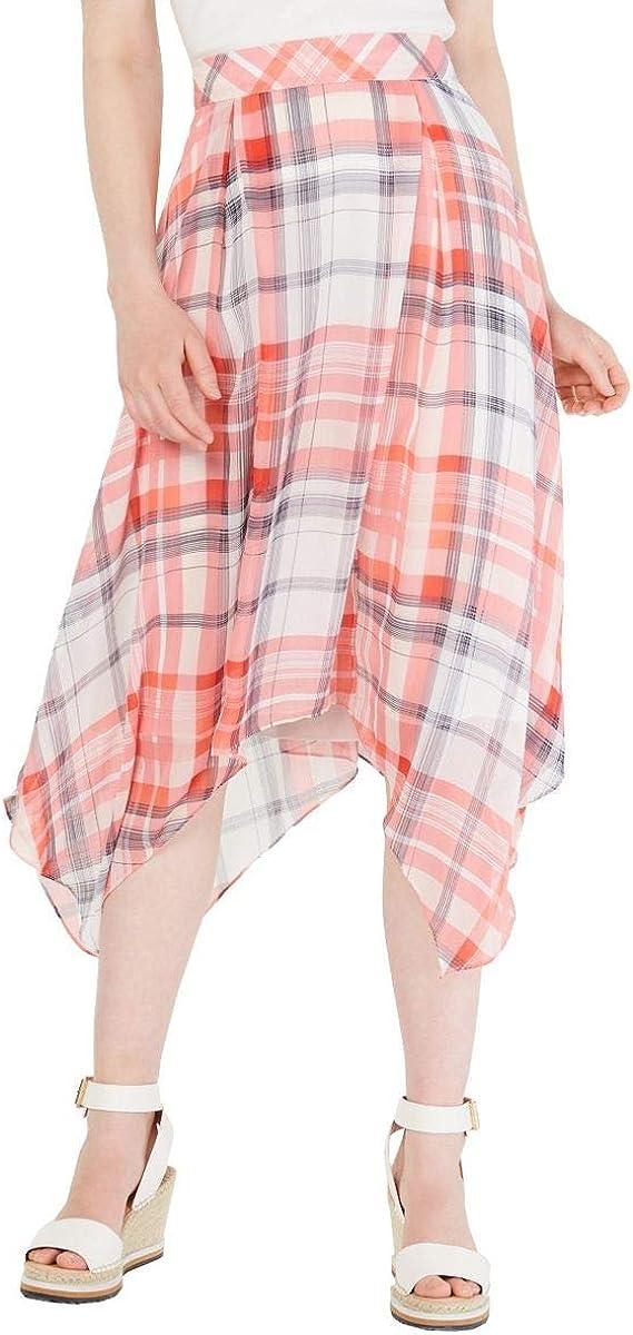 Tommy Hilfiger Women's Skirt Pink Size 8 Plaid Judy Asymmetrical