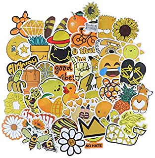 100 Pcs Waterproof Stickers Girls Laptop Luggages Yellow Cute Stickers Cartoon Stickers Vinyl Car Skateboard Motorcycle St...