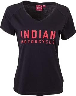 Indian Motorcycle Womens T-Shirt with Diamantes Logo Size Medium Black