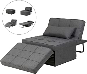 Diophros Folding Ottoman Sleeper Guest Bed, 4 in 1 Multi-Function Adjustable Ottoman Bench Guest Sofa Chair Sofa Bed (Dark Grey)