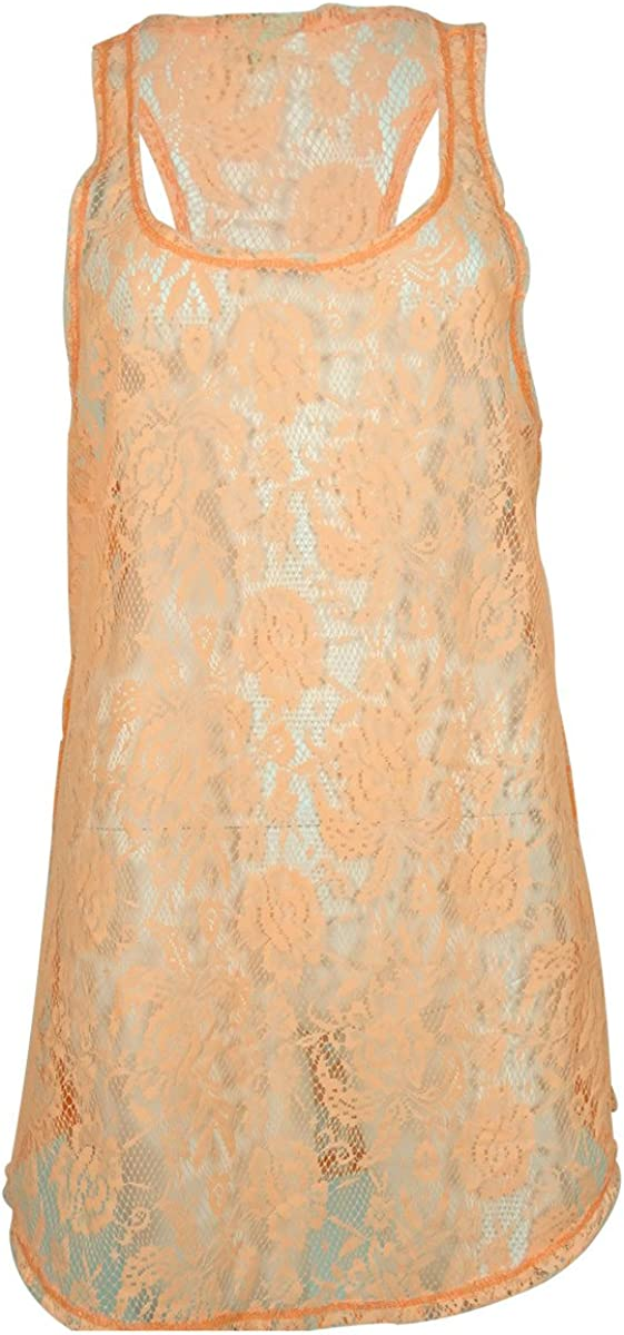 Miken Women's Laced Dress Cover ups (L, Cantaloupe)