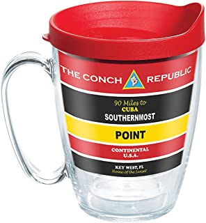 Tervis 1271962 Florida - Southernmost Point Buoy Tumbler with Wrap and Red Lid 16oz Mug, Clear