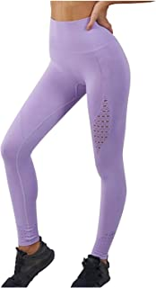 Rickitrty High Waist Yoga Pants Women Tummy Control Workout Running Leggings Breathable Butt Lift 4 Way Stretch Tights