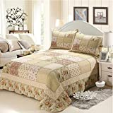 Newrara 3 Piece 100% Cotton Queen Size Patchwork Quilt Bedspread Blooming Prairie Country Cottage Quilt Set