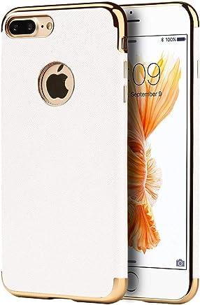 DreamWireless Funda Anti Gravedad Protector de Plástico, Tipo Piel con Borde Cromados para iPhone 7 Plus/iPhone 8 Plus, Color Blanco