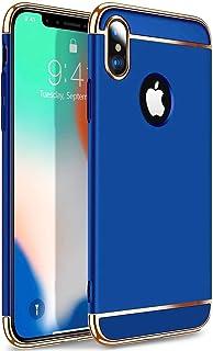 جراب كفر ايفون x صلب ازرق - حماية كافة الجوانب - ايفون اكس - ايفون 10