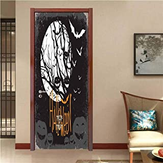 Vintage Halloween Art Door Stickers Halloween Themed Image with Full Moon and Jack o Lanterns on a Tree Door Decals for Home Room Decoration Black White W35.4 x H78.7 INCH
