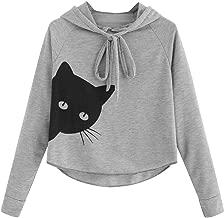 Aniywn Ladies Cat Printing Hooded Tops Women's Casual Loose Long Sleeve Short Jumper Sweatshirt Blouse