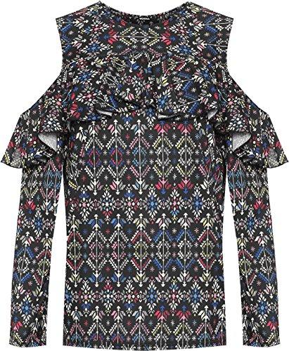 DIGITAL SPOT Frauen Floral Print Top Lang Sleeve Stretch Schnitt, die kalte Schulter Aztec 14–30, Blau
