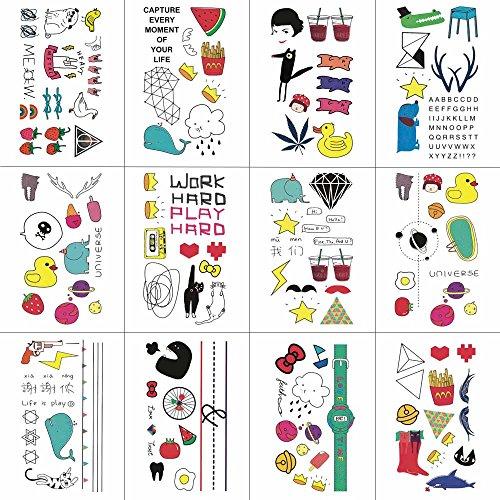 WYUEN 12 PCS/lot Animal de bande dessinée Temporaire Tatouage Autocollant pour Garçon Enfants Mode Body Art Enfants Étanche À La Main Faux Tatoo 9.8X6cm W12-29