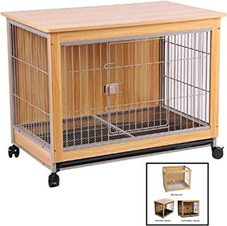 Beds Wooden Pet Cage Dog Cage Indoor Dog Cage Villa Small and Medium Dog Cage Dog Fence Domestic Dog Cage Cat Cage Rabbit Cage Cage (Color : Brown, Size : 98 * 64 * 76.5cm)