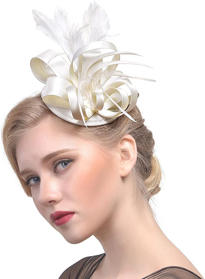 Fascinators for Women Tea Party Headband Kentucky Derby Hat Wedding Cocktail Flower Mesh Feathers Hair Clip