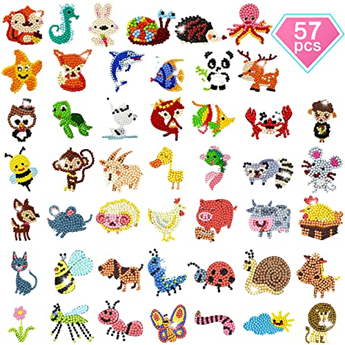 57 Pcs Gem Diamond Painting Stickers Kits for Kids Adult Beginners- Fun DIY Arts and Crafts Animal & Sea World Paint by Number Kits… (Small Gems)