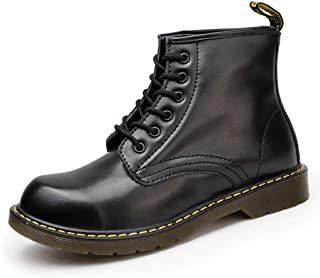 Dr. Martin unisex boots 6-hole lace-up short boots British leather short boots polish the fashion ankle boots thick bottom round toe boots non-slip wear-resistant boots (Color : Black, Size : 42)