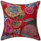 Stylo algodón de algodón de protección étnica Cubierta Impresa Kantha Puntada 16x16 Rojo decoración de Frutas Tropicales casa
