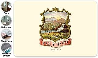 SHDU Retro Great Seal of State of Montana MT Flannel Doormat Non-Slip Floor Carpet Bathroom Bedroom Mats Home Decorative 15.7 X 23.5''