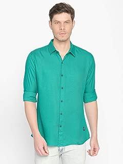 ODCC Men's Slim Fit Cotton Viscose Green Plain Shirt