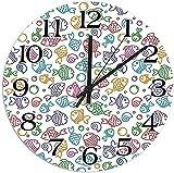 DKISEE Reloj de pared redondo de madera silencioso que no hace tictac, figuras coloridas de peces con caras felices y burbujas bajo el mar, decoración de pared de acuario de 30 cm