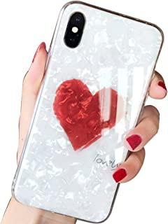 SQMCase iPhone Xs Case,iPhone X Case, Seashell Pattern Hard PC Back with Lovely Heart Shape + Clear Soft TPU Protective Case for Apple iPhone Xs/X (White)