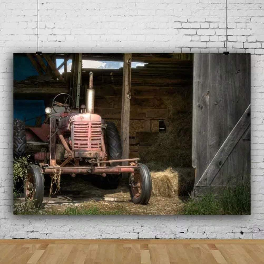 OFILA Rustic Barn Backdrop Polyester Fabric 5x3ft Farm Photography Background Rustic Wood Photos Tractor Kids Rustic Birthday Party Decoration Adult Country Theme Events Photos Studio Props