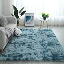 Modern Shaggy Rugs Fluffy Soft Touch Dazzle Sparkle Area Rug Carpet Large for Living Room Bedroom Floor Mat (Sky Blue,120 ...