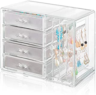 Acrylic Jewelry Organizer 4 Drawers 2 Earring Hanger Two-in-one, Clear Rings Bracelets Necklaces Box for Women, Girls Gift (Gray)