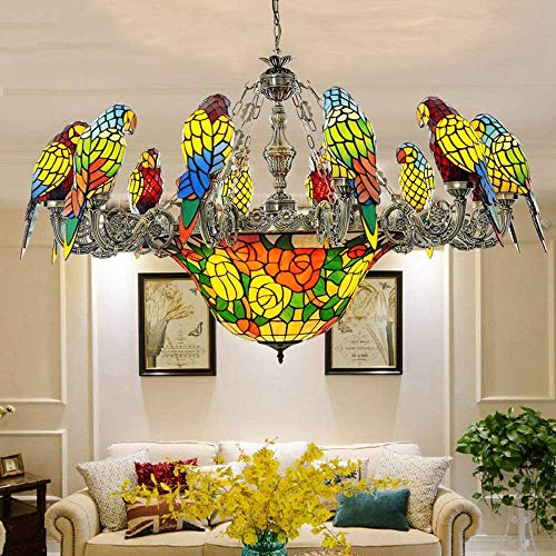 ZSAIMD 12 Europea Retro de Color de luz araña de Loro Que Vive Comedor Sala de Pasillo LED mediterránea pájaro de Cristal Pendiente de la lámpara del Accesorio Ligero casa Cocina de iluminación E27