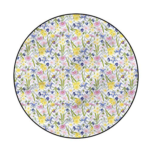 Daffodil Pattern Rugs for Luxury Carpets for Floors and Bed Chevron Anemone Flowers 3'11'