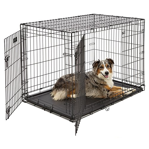 Large Dog Crate | MidWest ICrate Double Door Folding Metal Dog...