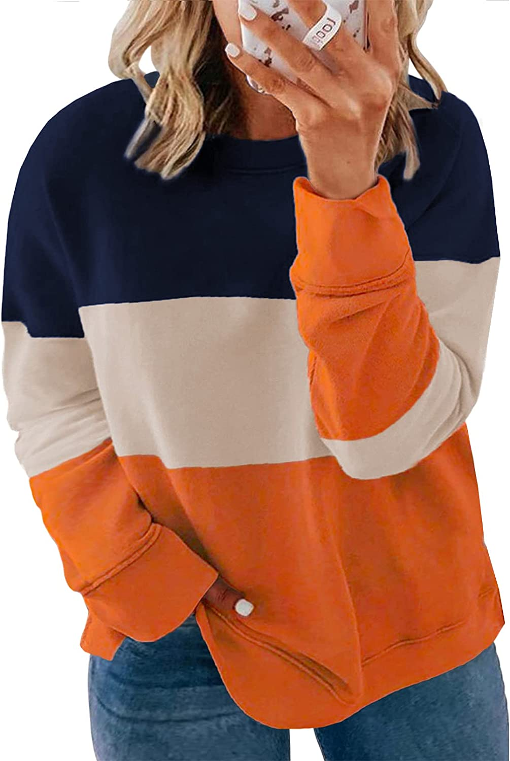Happy Sailed Womens Plus Size Tie Dye Sweatshirt Casual Long Sleeve Crew Neck Colorblock Pullover Tops(1X-5X)