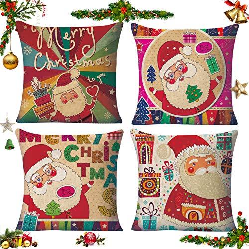 Sunshine smile 4 pcs Fundas navideñas para Cojines,Funda de Almohada decoración para hogar,Funda de Almohada de Navidad,Fundas para Cojines de Sofa,Funda de Almohada Decorativa (6)