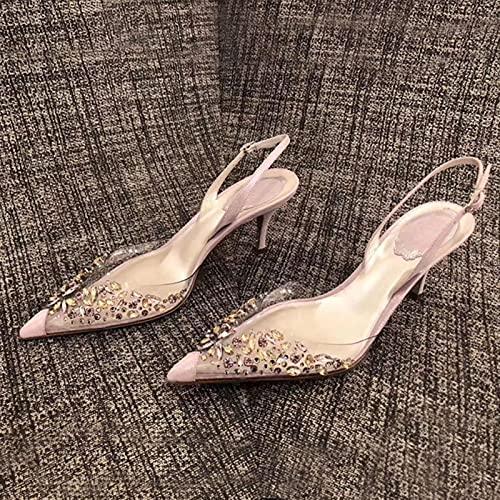 JUSTMAE 2021 Sexy Tacones Altos Elegantes Sandalias Finas de Cristal para Mujer Zapatos Transparentes de Diamantes de imitación Puntiagudos Zapatos de Boda para Mujer