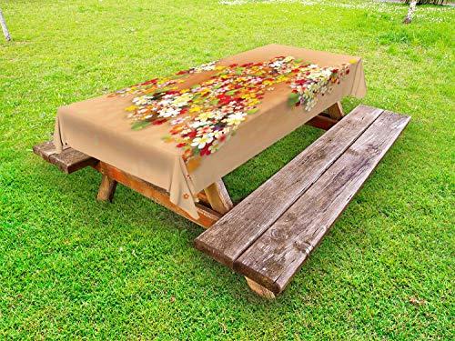 ABAKUHAUS Bloemen Tafelkleed voor Buitengebruik, Summer Sale Banner Art, Decoratief Wasbaar Tafelkleed voor Picknicktafel, 58 x 104 cm, Oranje Rood en Wit