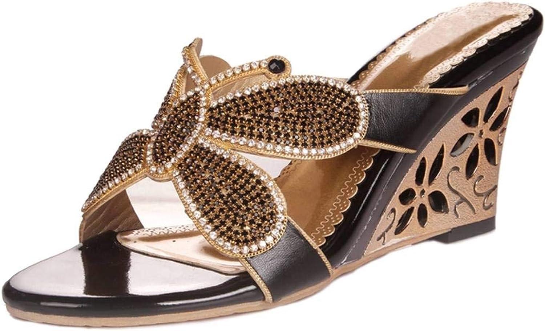YooPrettyz Crystal Studs Sandal Butterfly Wedge Sandal Embellished Slip On Dress Sandal