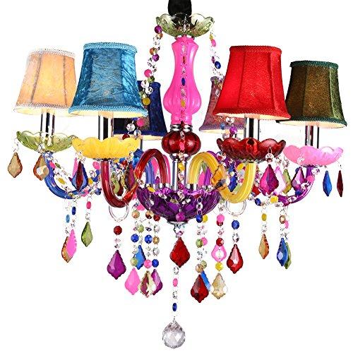 Moderno Lámpara De Techo Salón Araña De Cristal Restaurante Lámpara Colgante De Vidrio Celebracion Colgante De Luz Plafón Luces 5 Brazos Con Pantalla